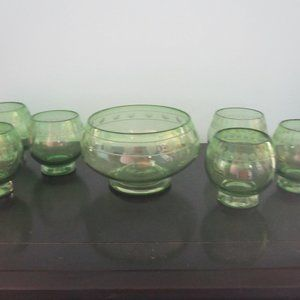 Pottery Barn Etched Green Glass Bowl Set